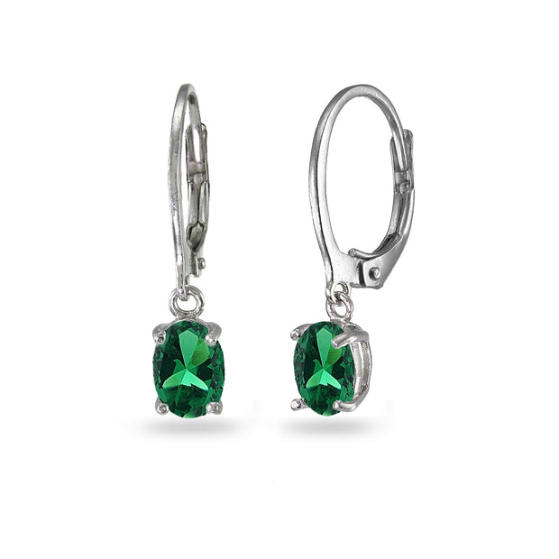 Sterling Silver Created Emerald 7x5mm Oval Dangle Leverback Earrings