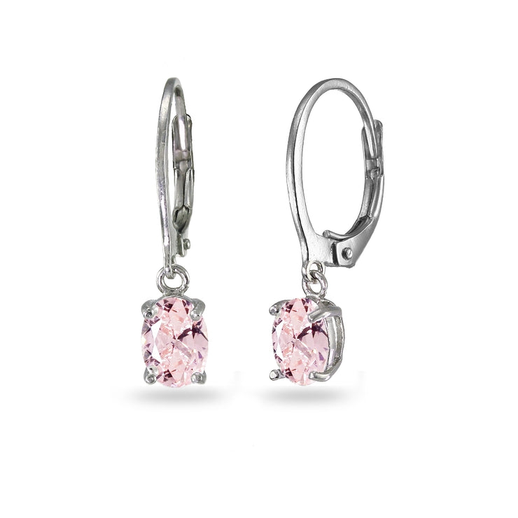 Sterling Silver Created Morganite 7x5mm Oval Dangle Leverback Earrings
