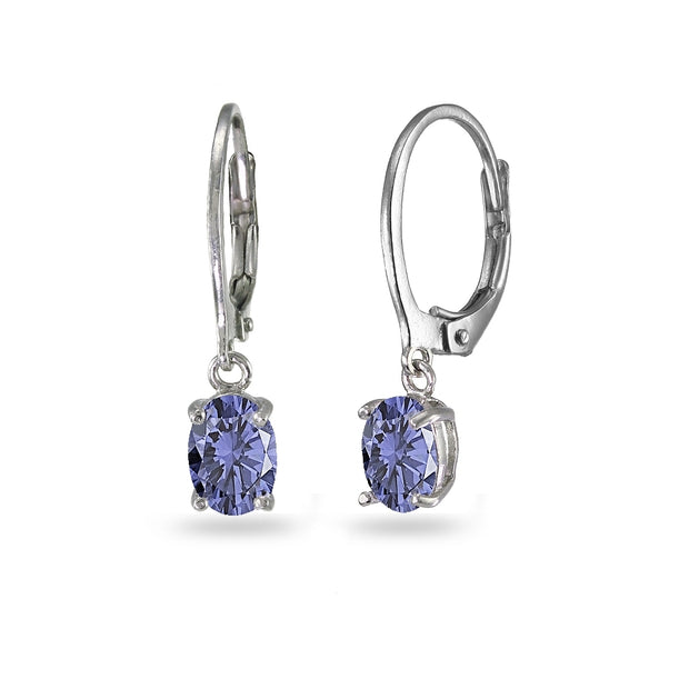 Sterling Silver Created Tanzanite 7x5mm Oval Dangle Leverback Earrings