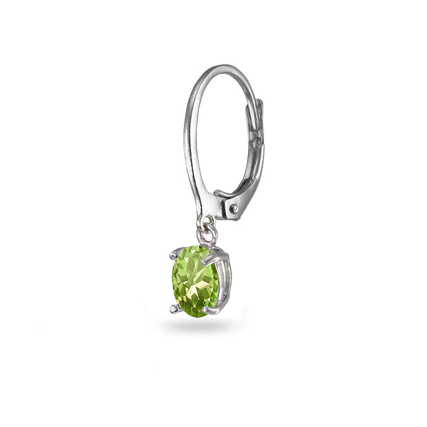 Sterling Silver Peridot 7x5mm Oval Dangle Leverback Earrings