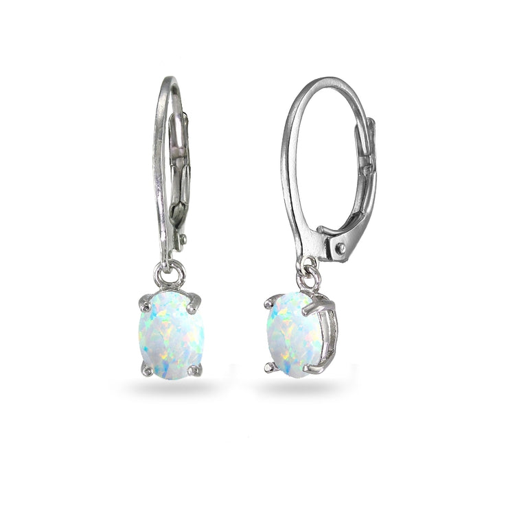 Sterling Silver Created White Opal 7x5mm Oval Dangle Leverback Earrings