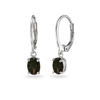 Sterling Silver Smokey Quartz 7x5mm Oval Dangle Leverback Earrings