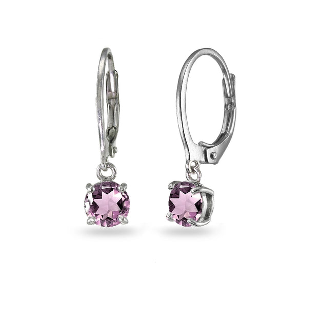 Sterling Silver Simulated Alexandrite 6mm Round Dangle Leverback Earrings