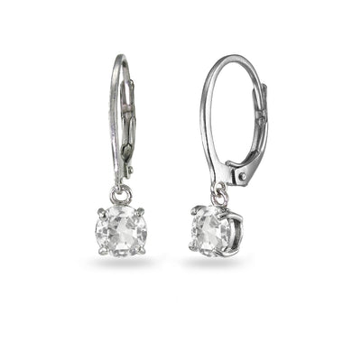 Sterling Silver Created White Sapphire 6mm Round Dangle Leverback Earrings