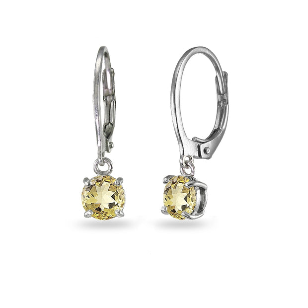 Sterling Silver Citrine 6mm Round Dangle Leverback Earrings