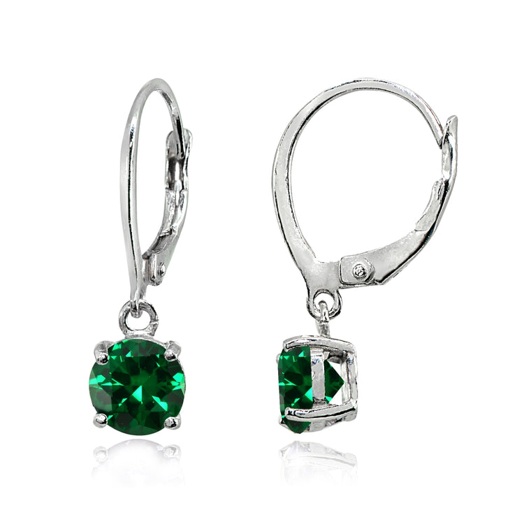 Sterling Silver Created Emerald 6mm Round Dangle Leverback Earrings