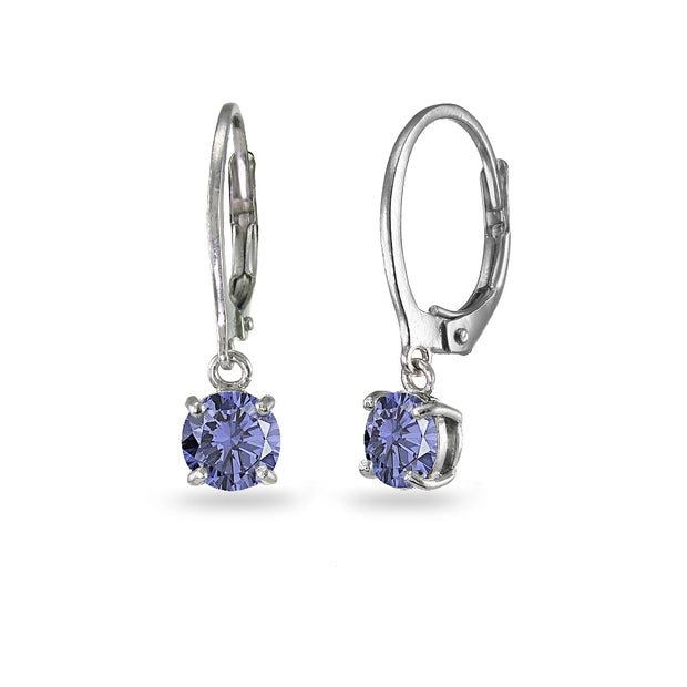 Sterling Silver Created Tanzanite 6mm Round Dangle Leverback Earrings