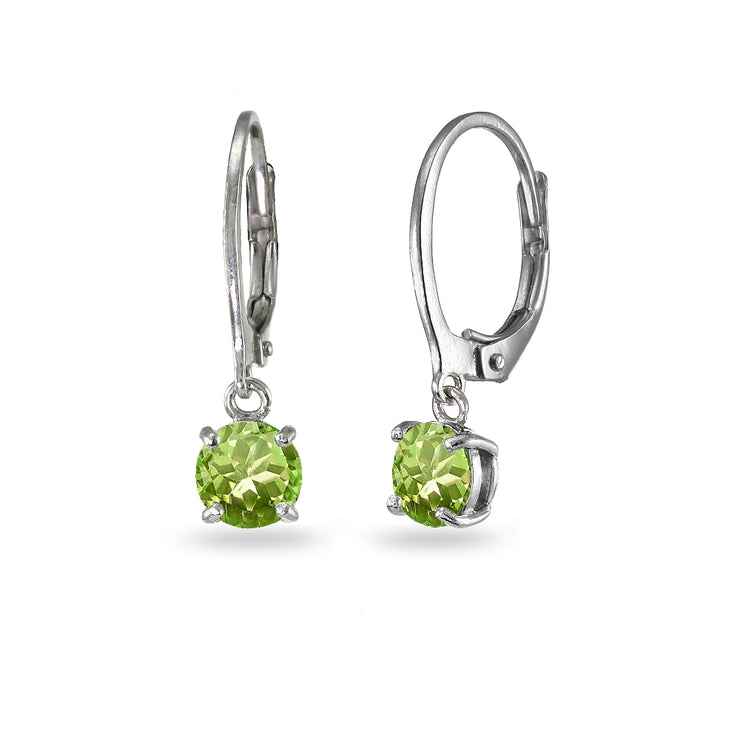 Sterling Silver Peridot 6mm Round Dangle Leverback Earrings