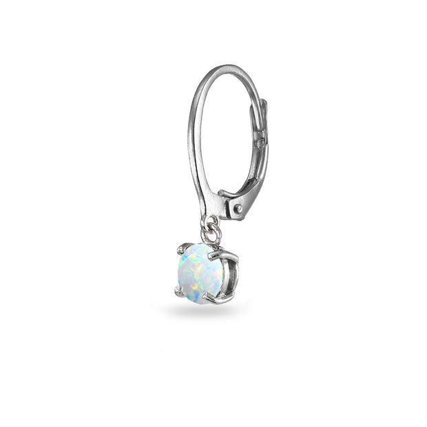 Sterling Silver Created White Opal 6mm Round Dangle Leverback Earrings