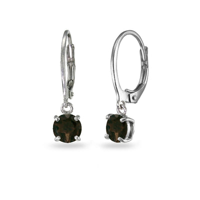 Sterling Silver Smokey Quartz 6mm Round Dangle Leverback Earrings