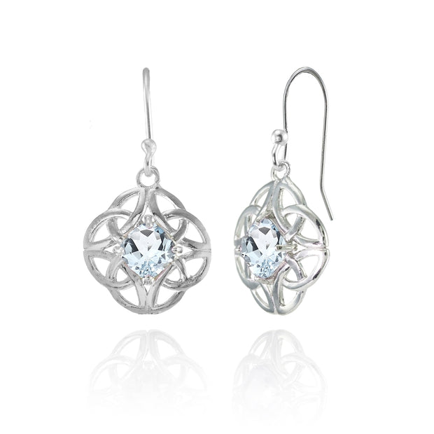 Sterling Silver Aquamarine 5x5mm Cushion-Cut Celtic Open Knot Dangle Earrings