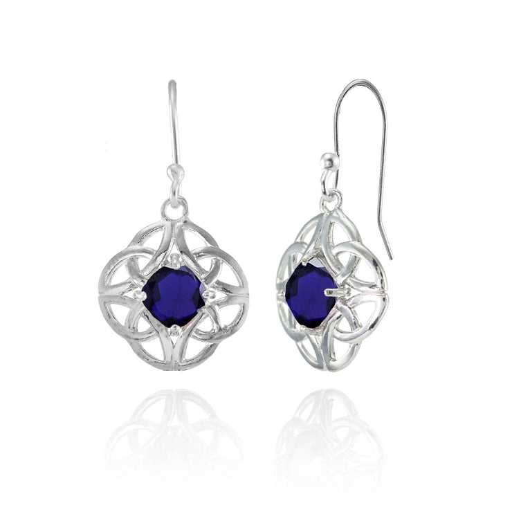 Sterling Silver Created Blue Sapphire 5x5mm Cushion-Cut Celtic Open Knot Dangle Earrings