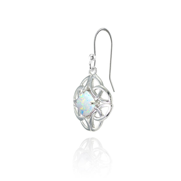 Sterling Silver Created White Opal 5x5mm Cushion-Cut Celtic Open Knot Dangle Earrings