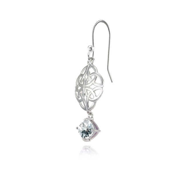 Sterling Silver Aquamarine 4x4mm Cushion-Cut Dangle Celtic Open Knot Drop Earrings