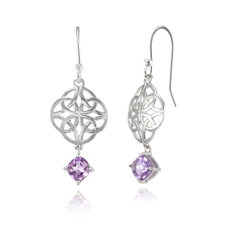 Sterling Silver Amethyst 4x4mm Cushion-Cut Dangle Celtic Open Knot Drop Earrings