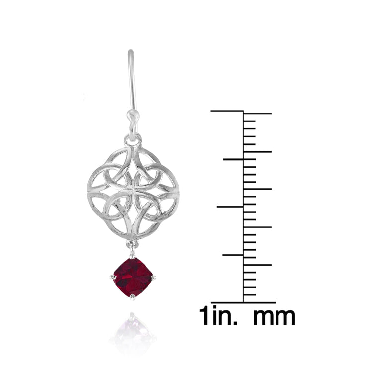 Sterling Silver Created Ruby 4x4mm Cushion-Cut Dangle Celtic Open Knot Drop Earrings