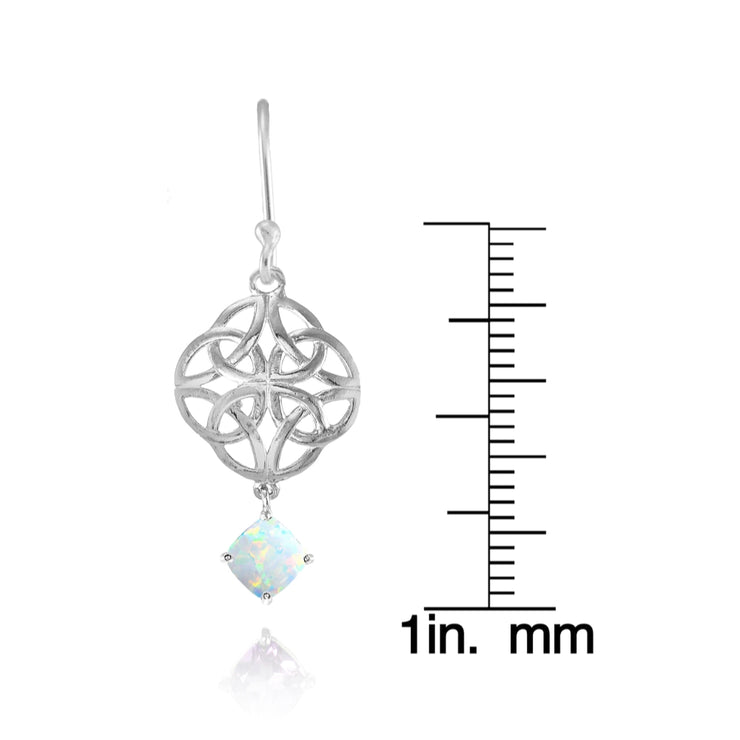 Sterling Silver Created White Opal 4x4mm Cushion-Cut Dangle Celtic Open Knot Drop Earrings