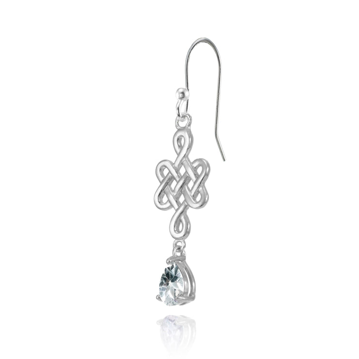 Sterling Silver Aquamarine 6x4mm Teardrop Celtic Infinity Knot Dangle Earrings