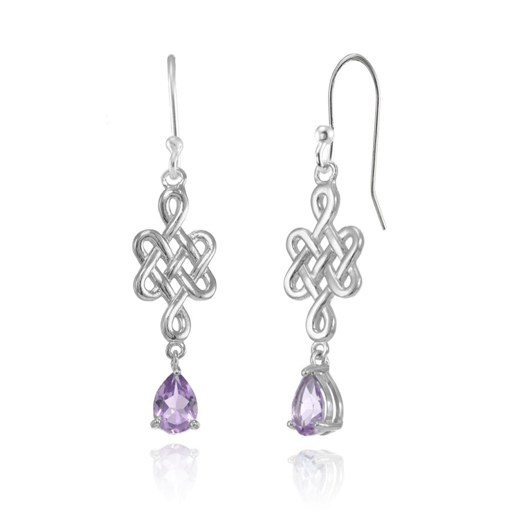 Sterling Silver Amethyst 6x4mm Teardrop Celtic Infinity Knot Dangle Earrings