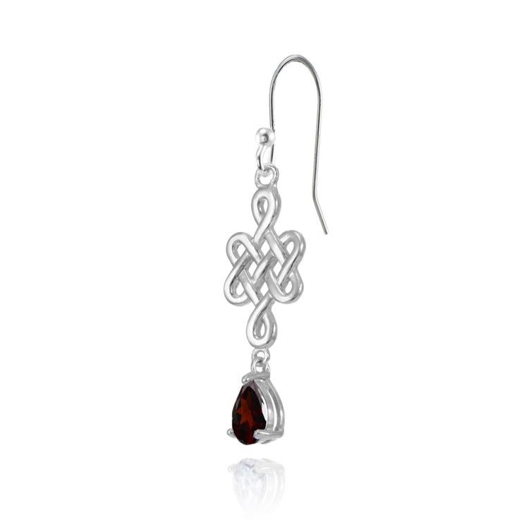 Sterling Silver Garnet 6x4mm Teardrop Celtic Infinity Knot Dangle Earrings