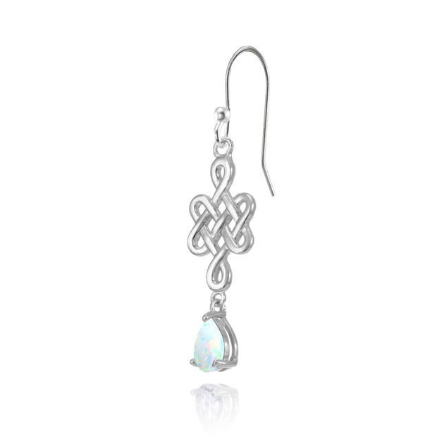 Sterling Silver Created White Opal 6x4mm Teardrop Celtic Infinity Knot Dangle Earrings