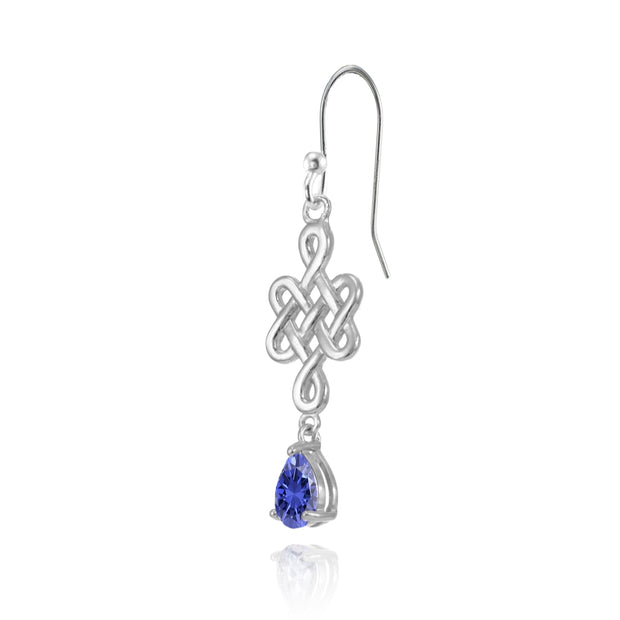 Sterling Silver Tanzanite 6x4mm Teardrop Celtic Infinity Knot Dangle Earrings