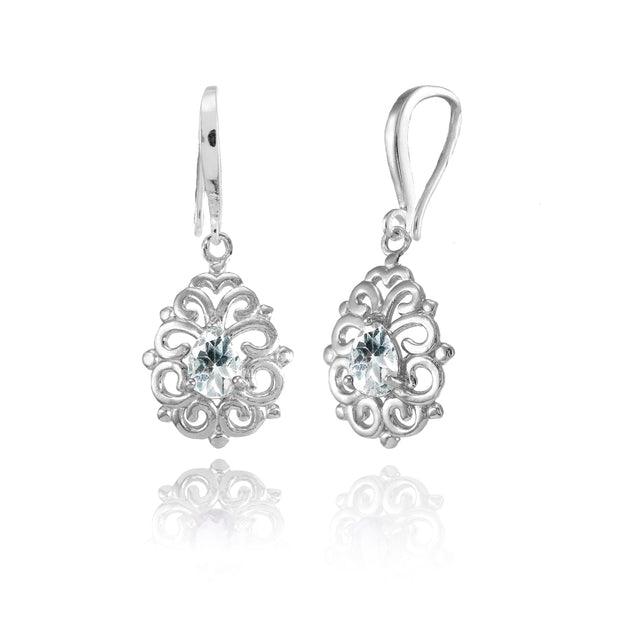 Sterling Silver Aquamarine 6x4mm Teardrop Filigree Dainty Dangle Earrings