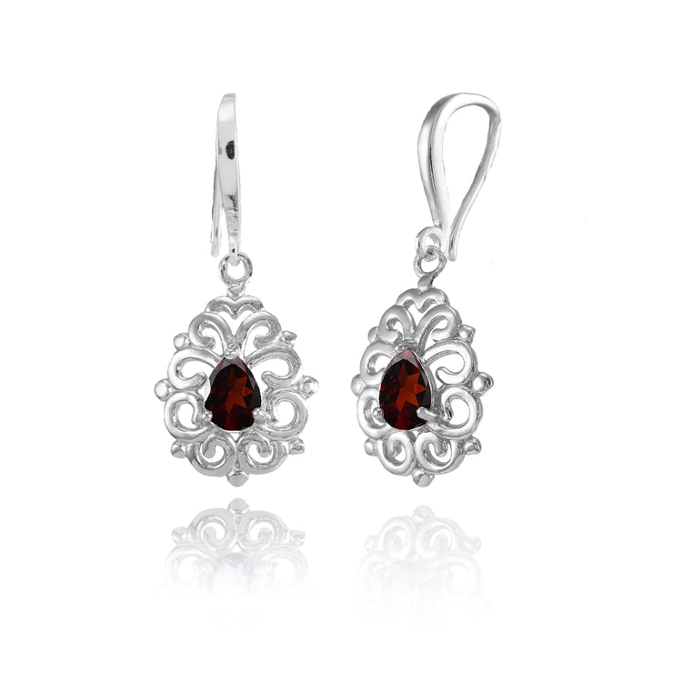 Sterling Silver Garnet 6x4mm Teardrop Filigree Dainty Dangle Earrings