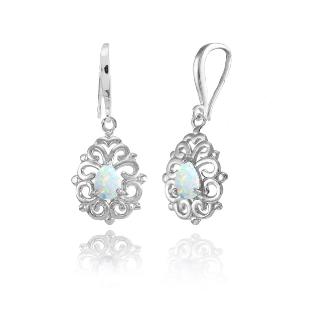 Sterling Silver Created White Opal 6x4mm Teardrop Filigree Dainty Dangle Earrings