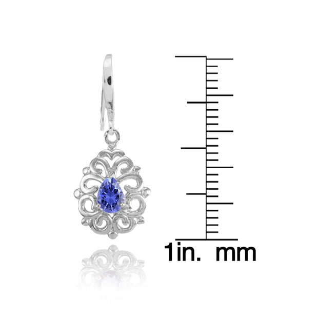 Sterling Silver Tanzanite 6x4mm Teardrop Filigree Dainty Dangle Earrings