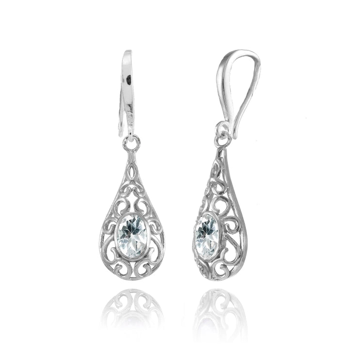 Sterling Silver Aquamarine 6x4mm Oval Filigree Teardrop Dangle Earrings