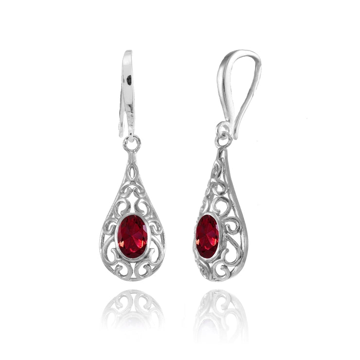 Sterling Silver Created Ruby 6x4mm Oval Filigree Teardrop Dangle Earrings