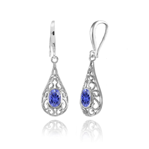 Sterling Silver Tanzanite 6x4mm Oval Filigree Teardrop Dangle Earrings