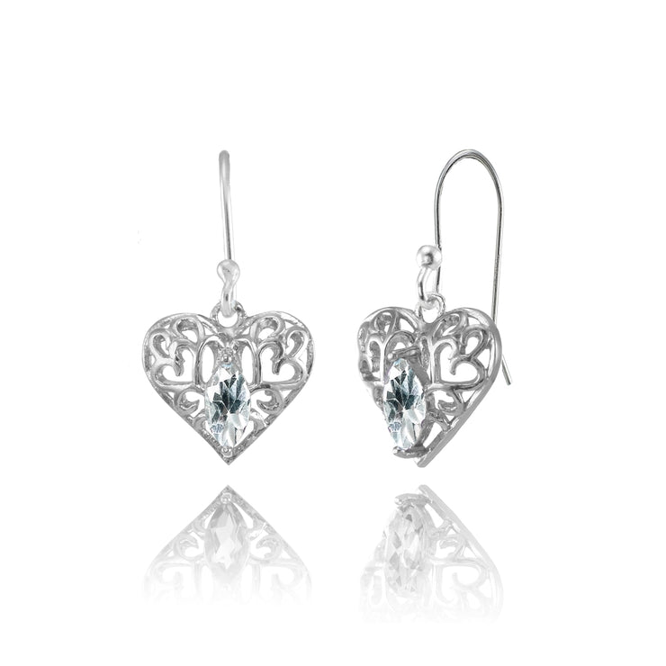 Sterling Silver Aquamarine 6x3mm Marquise Heart Filigree Dangle Earrings
