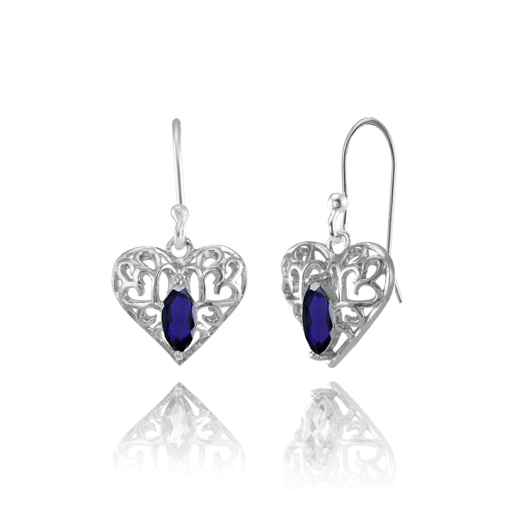 Sterling Silver Created Blue Sapphire 6x3mm Marquise Heart Filigree Dangle Earrings