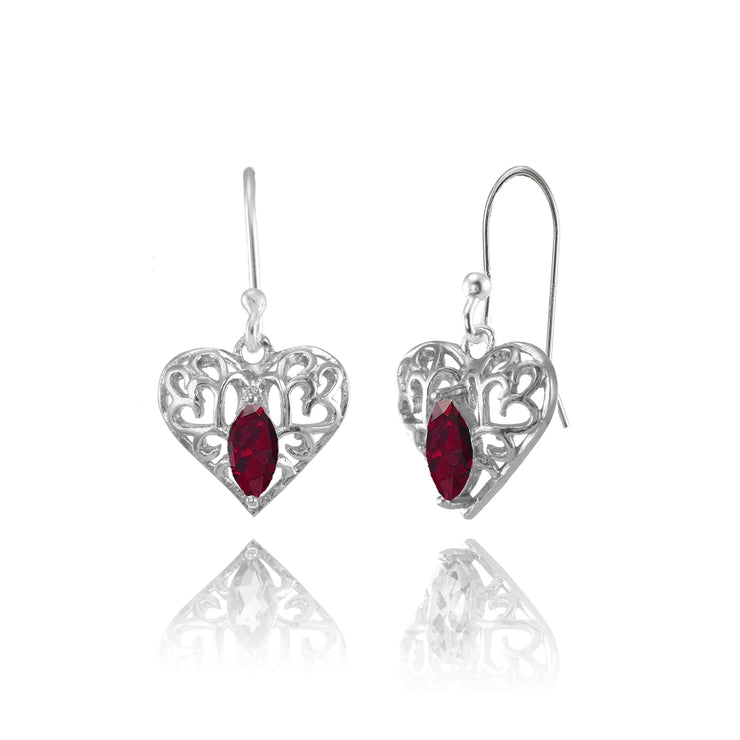 Sterling Silver Created Ruby 6x3mm Marquise Heart Filigree Dangle Earrings