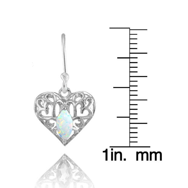 Sterling Silver Created White Opal 6x3mm Marquise Heart Filigree Dangle Earrings