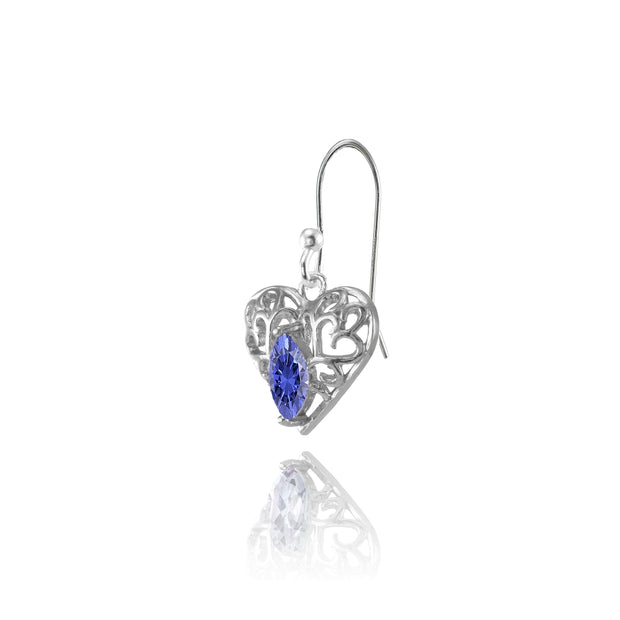 Sterling Silver Tanzanite 6x3mm Marquise Heart Filigree Dangle Earrings