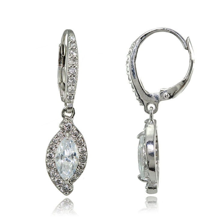 Sterling Silver Cubic Zirconia Marquise Dangle Leverback Earrings