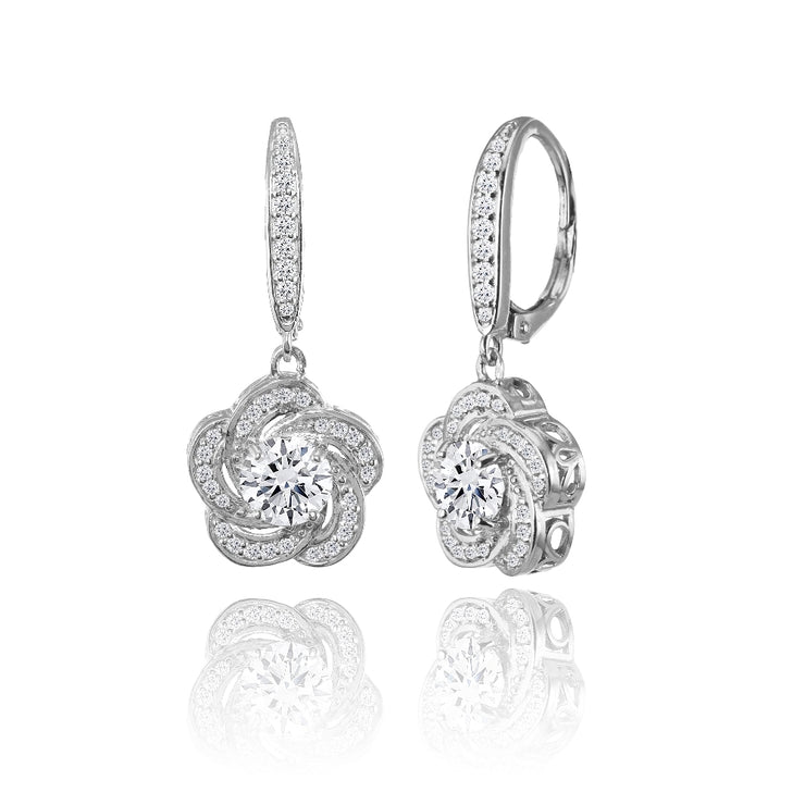 Sterling Silver Cubic Zirconia Flower Swirl Dangle Leverback Earrings