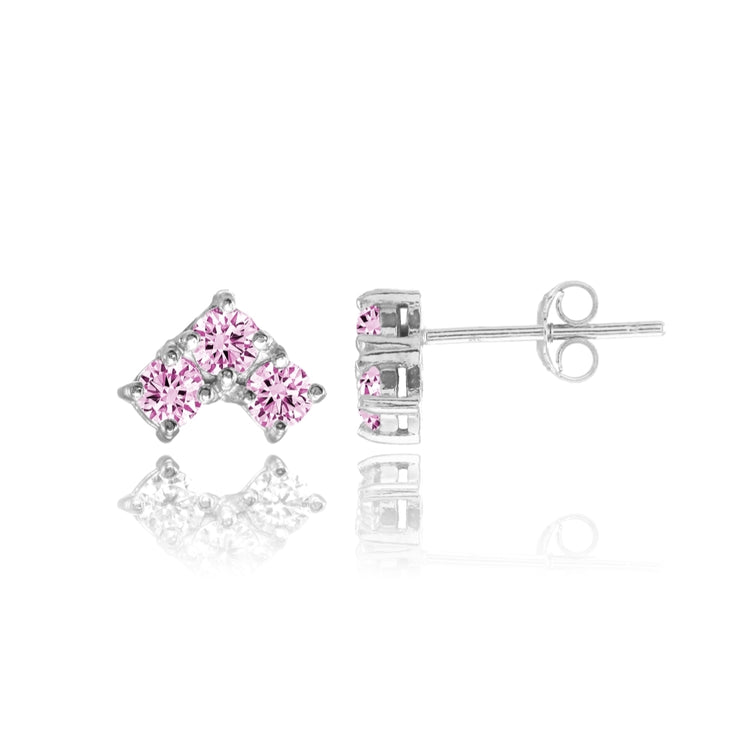 Sterling Silver Light Pink Cubic Zirconia 3-Stone Triangle Stud Earrings