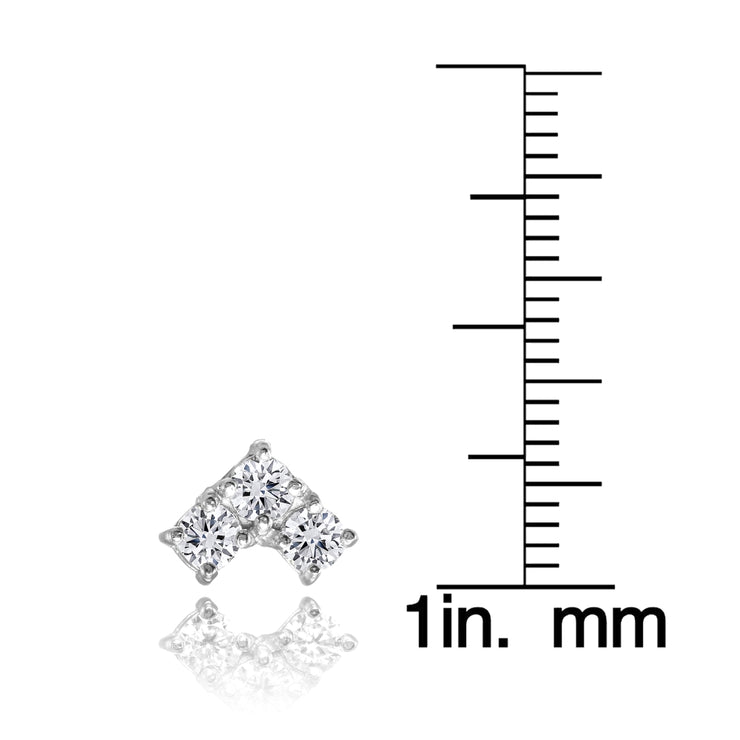 Sterling Silver Cubic Zirconia 3 Stone Triangle Stud Earrings
