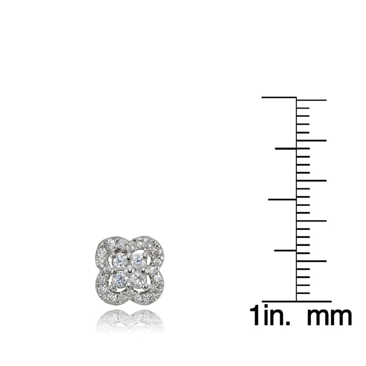 Sterling Silver Cubic Zirconia Four Leaf Clover Stud Earrings
