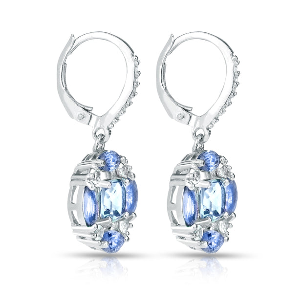 Sterling Silver Blue Topaz, Tanzanite and White Topaz Circle Dangle Leverback Earrings