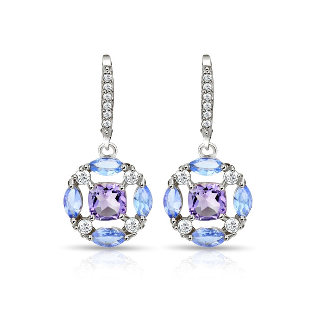 Sterling Silver Amethyst, Tanzanite and White Topaz Circle Dangle Leverback Earrings