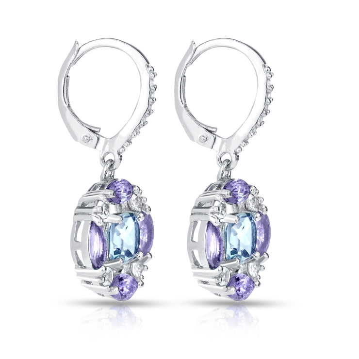 Sterling Silver Blue Topaz, Amethyst and White Topaz Circle Dangle Leverback Earrings