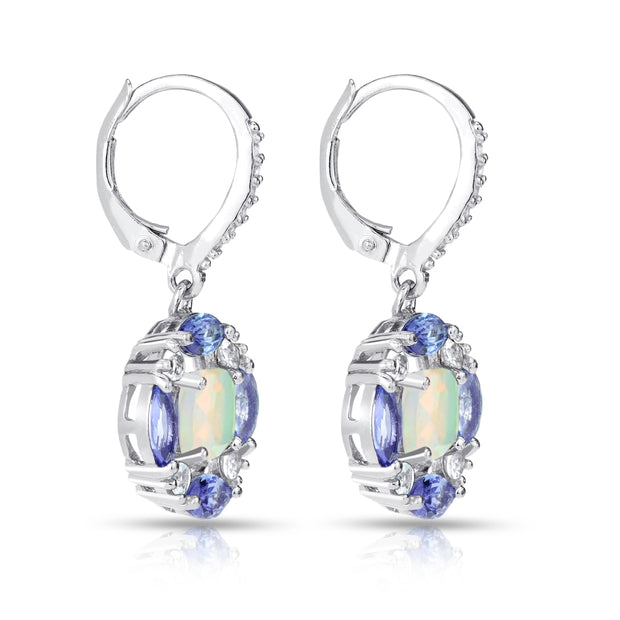 Sterling Silver Ethiopian Opal, Tanzanite and White Topaz Circle Dangle Leverback Earrings