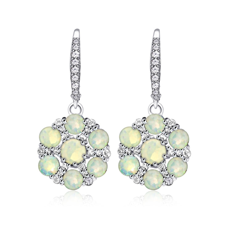 Sterling Silver Ethiopian Opal and White Topaz Flower Dangle Leverback Earrings