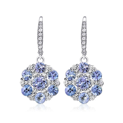 Sterling Silver Tanzanite and White Topaz Flower Dangle Leverback Earrings