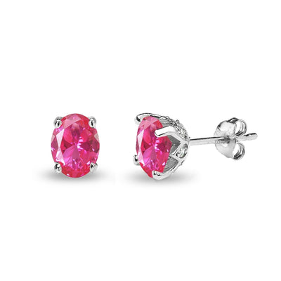 Sterling Silver Created Pink Sapphire and White Topaz Oval Crown Stud Earrings